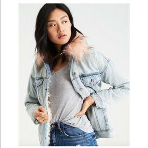 American Eagle Faux Fur Sherpa Lined Denim Jacket